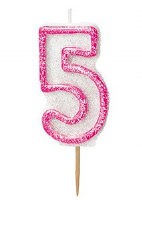 Number Five Pink Glitz Birthday Cake Candle